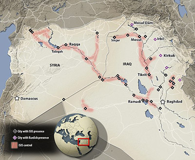 Map showing the expansion of ISIS.
