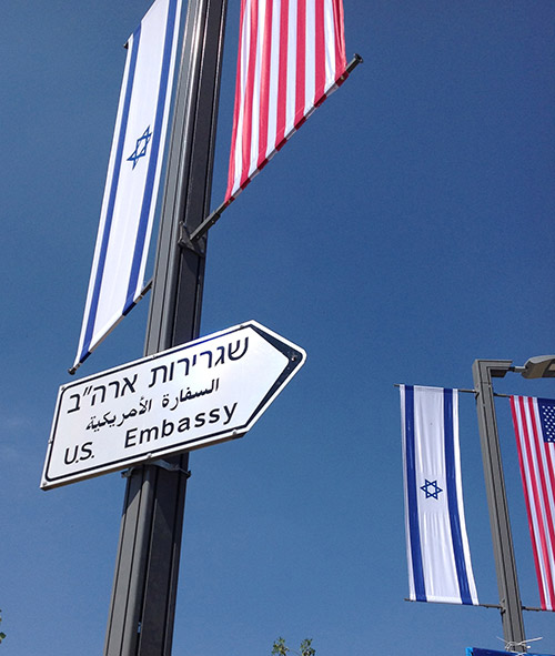 US Embassy signs in Jerusalem.