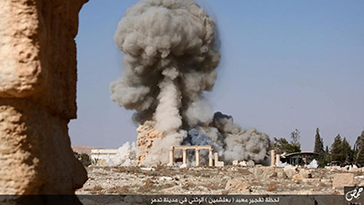 ISIS blows up Roman and Greek cultural heritage in Syria.