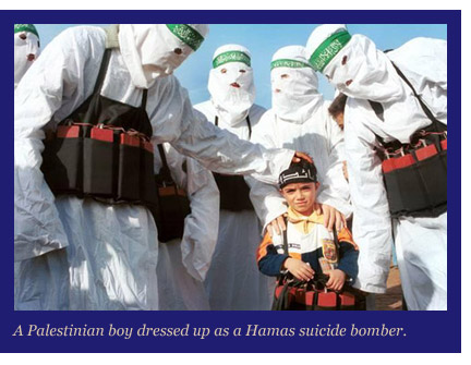 Palestinian boy dressed up as a Hamas suicide bomber.