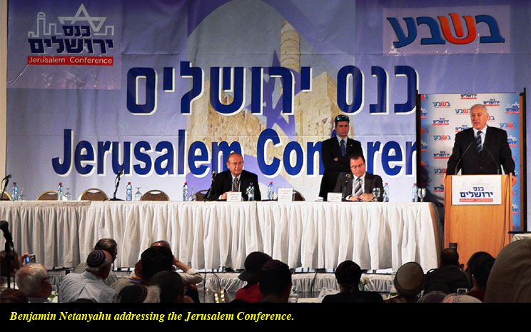Netanyahu addresses the Jerusalem Conference.