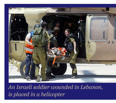 An Israeli Soldier wounded in Lebanon is evacuated.