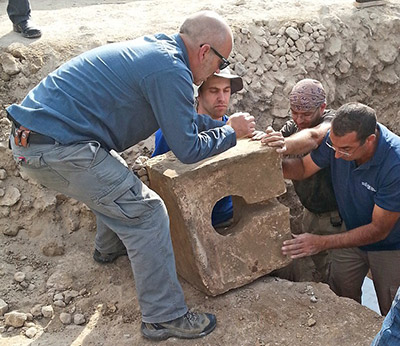 The toilet being discovered at Tel Lachish.